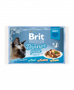 hrana umeda pisic brit premium dinner plate in sos gravy 85 gr x 4