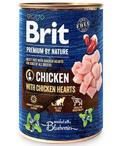 conserva pentru caini brit premium by nature pui si inimi 400 gr