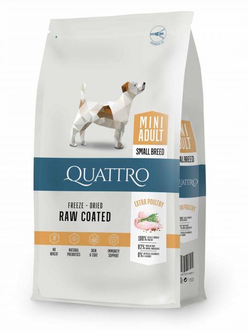 hrana uscata caini Quattro Mini Adult cu carne de pui pentru caini adulti de talie mica