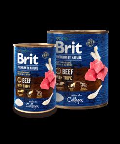 hrana umeda Brit Premium by Nature beef with tripe vita cu burta conserva