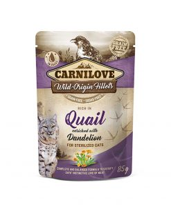 Hrana umeda pisici Carnilove Cat Pouch Rich in Quail with Dandelion for Sterilised