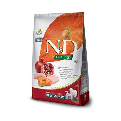 Hrana uscata caini N & D Pumpkin Chicken and Pomegranate Adult Medium and Maxi