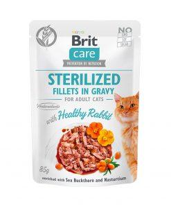 Hrana umeda pisici Brit Care Cat Sterilized Fillets in Gravy With Healthy Rabbit