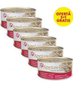 conserva applaws pentru pisici cu piept de pui si rata