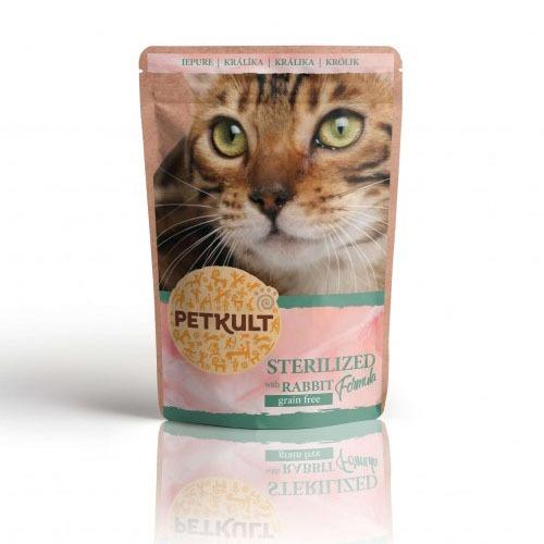 hrana pisici petkult plic pentru pisici sterilizate cu iepure