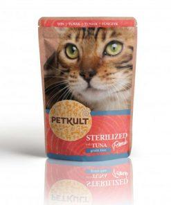 hrana umeda pisici sterilizate petkult cu ton