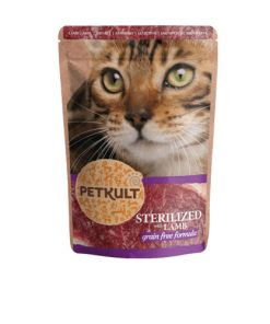 hrana umeda pisici sterilizate petkult cu miel